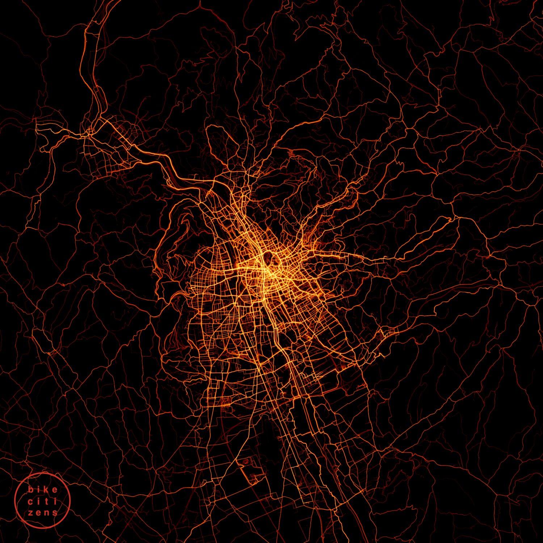 Heatmap Graz: Mit der Bike Citizens App aufgezeichnete Radfahrten © Bike Citizens, 2020