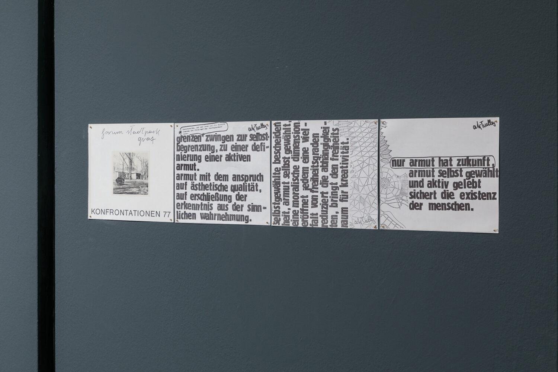 Eilfried Huth, Nur Armut hat Zukunft, 1977 Ausstellungsansicht, Foto: Kunsthaus Graz/N. Lackner
