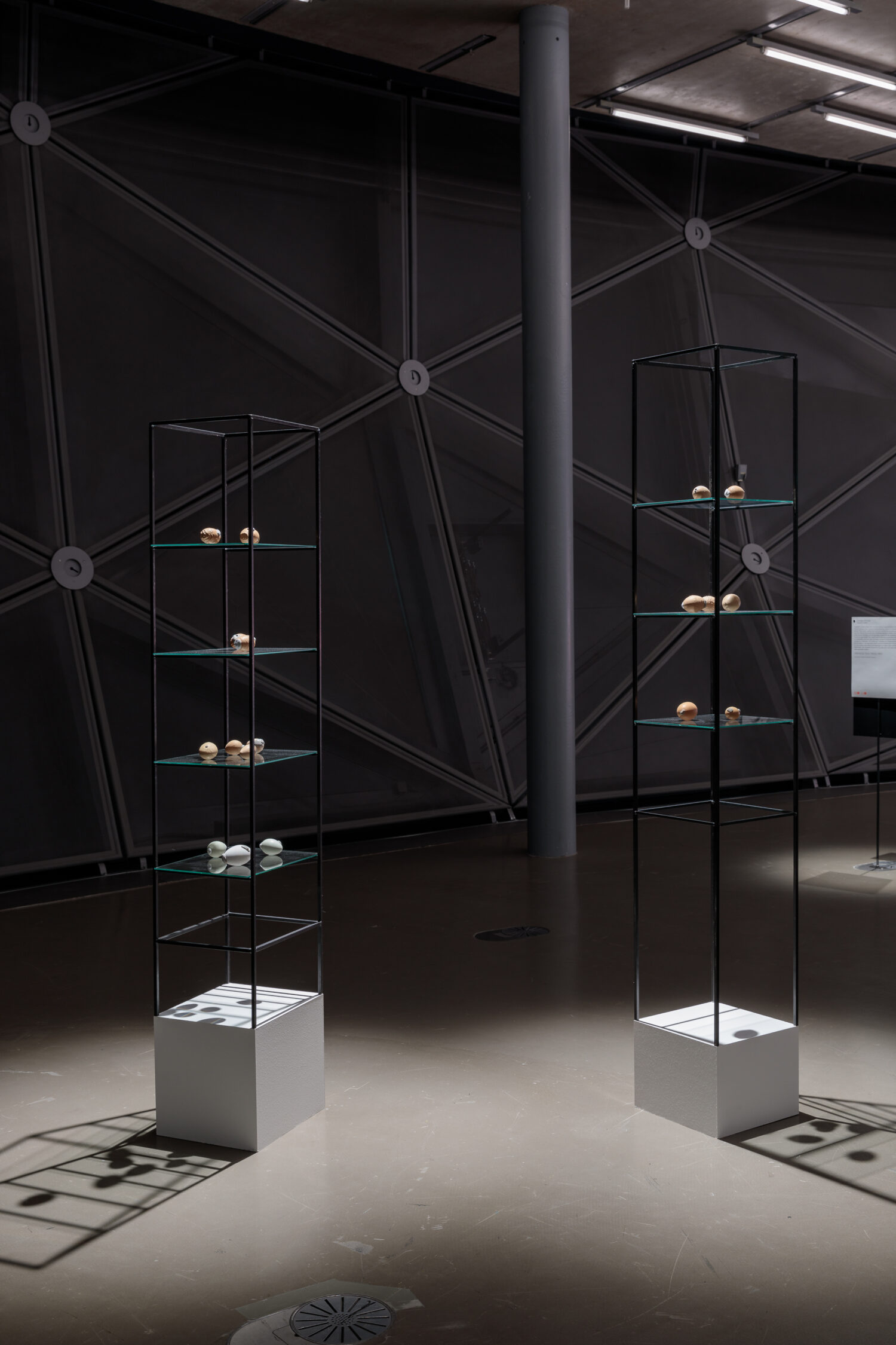 Angelika Loderer, Custodian I & II, 2021 © Bildrecht, Wien, 2021, Ausstellungsansicht, Foto: Kunsthaus Graz/N. Lackner