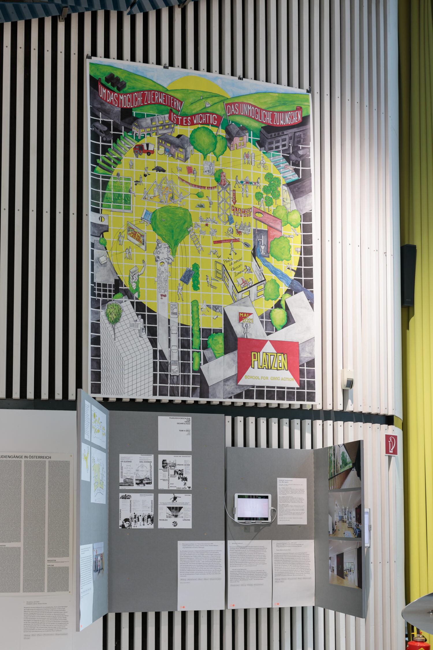 public works, PLATZEN – School for Civic Action, 2021 Ausstellungsansicht, Foto: Kunsthaus Graz/N. Lackner
